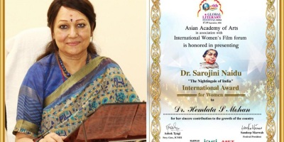 Dr. Hemlata S. Mohan, Dr. Sarojini Naidu conferred with the International Award 2020 ""